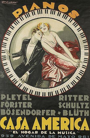 LUCIANO ACHILLE MAUZAN (1883-1952). CASA AMERICA / PIANOS. 1930. 58x38 inches, 148x96 cm. Affiches Mauzan / Cosmos, Buenos Aires.