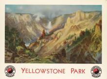 D'APRÈS THOMAS MORAN (1837-1926). YELLOWSTONE PARK / NORTHERN PACIFIC. 1924. 29x40 inches, 75x101 cm. Brown & Bigelow, St. Paul.