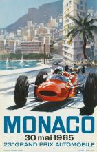 MICHAEL TURNER (1934- ). MONACO / 23E GRAND PRIX. 1965. 23x15 inches, 59x38 cm. J. Ramel, Nice.