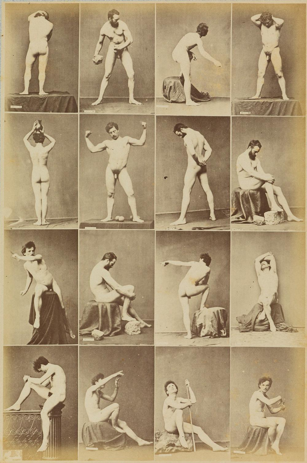 LOUIS JEAN-BAPTISTE IGOUT (1837-1881)  Suite of six composite photographs, each featuring 12 images of classical male nude studies.