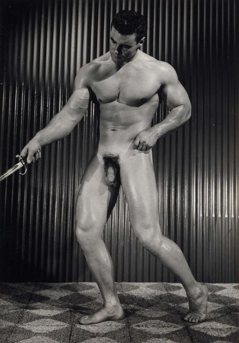 BRUCE OF LA (BRUCE BELLAS) (1909-1974)  Binder containing 100 photographs of hunky bodybuilders arranged by Bruce's inventory numbers,