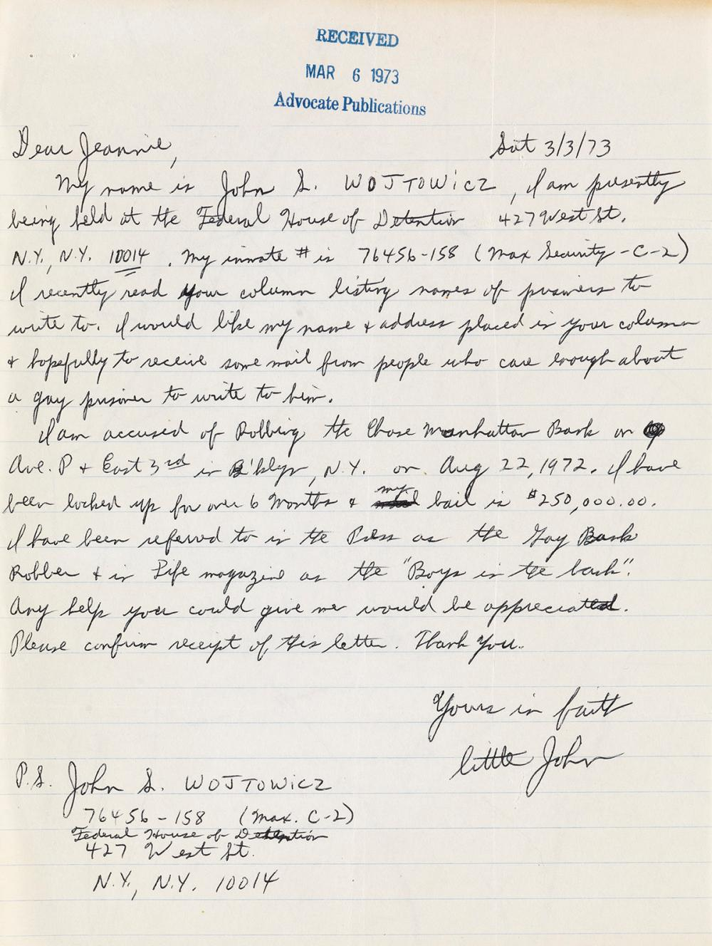 "JOHN WOJTOWICZ (1945-2006)  File of correspondence by the ""Gay Bank Robber"" of Dog Day Afternoon fame."