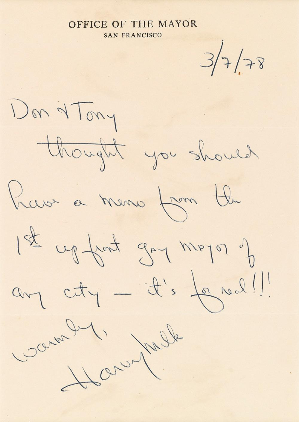 "HARVEY MILK (1930-1978)  Autograph Letter Signed, as Acting Mayor of San Francisco, to Don Amador and Tony Karnes (""Don & Tony"")."