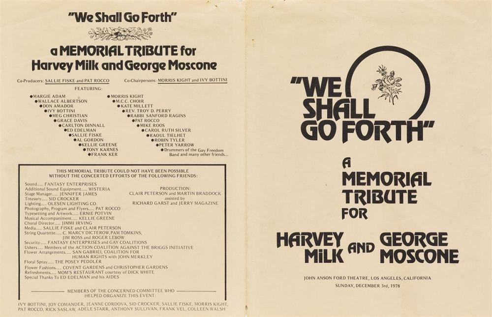 We Shall Go Forth: A Memorial Tribute for Harvey Milk and George Moscone.