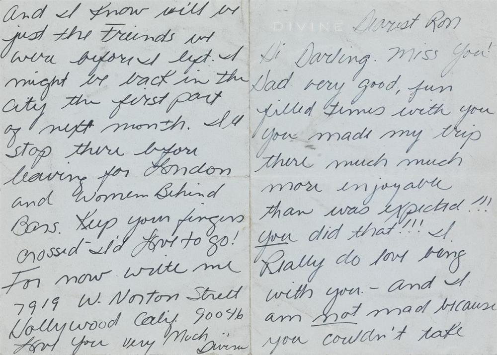 "HARRIS GLENN MILSTEAD (""DIVINE,"" 1945-1988)  Two Autograph Letters Signed, ""Divine,"" to Ron Taylor,"