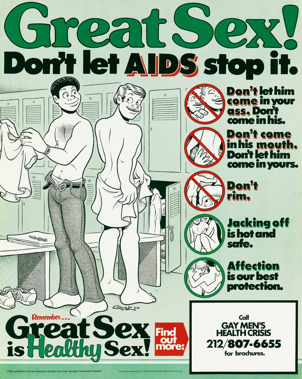 HOWARD CRUSE (1944-)  Great Sex! Don't Let AIDS Stop It / Great Sex is Healthy Sex!