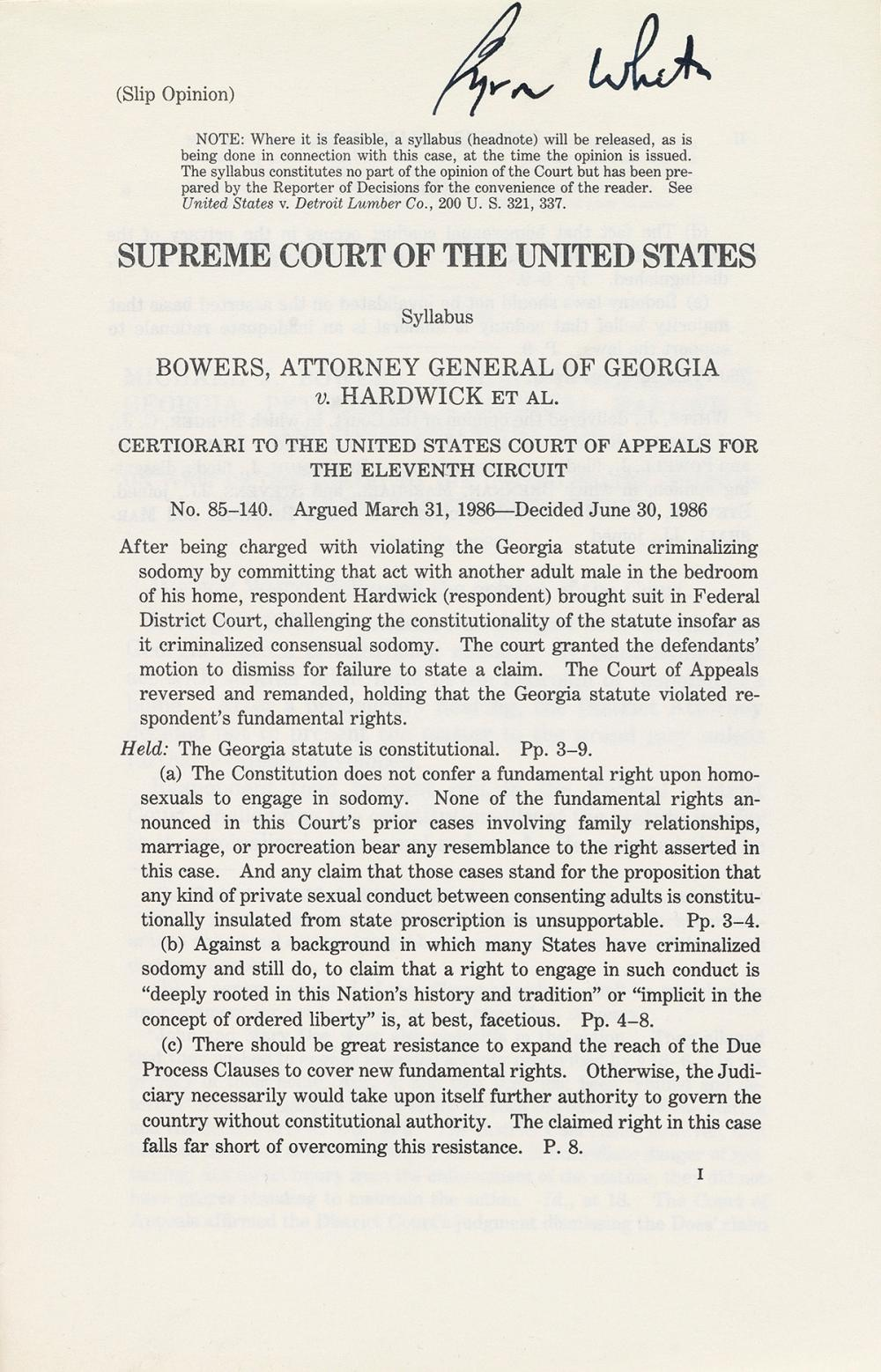 SUPREME COURT OF THE UNITED STATES; Byron White.  Bowers, Attorney General of Georgia v. Hardwick et al. Slip opinion.