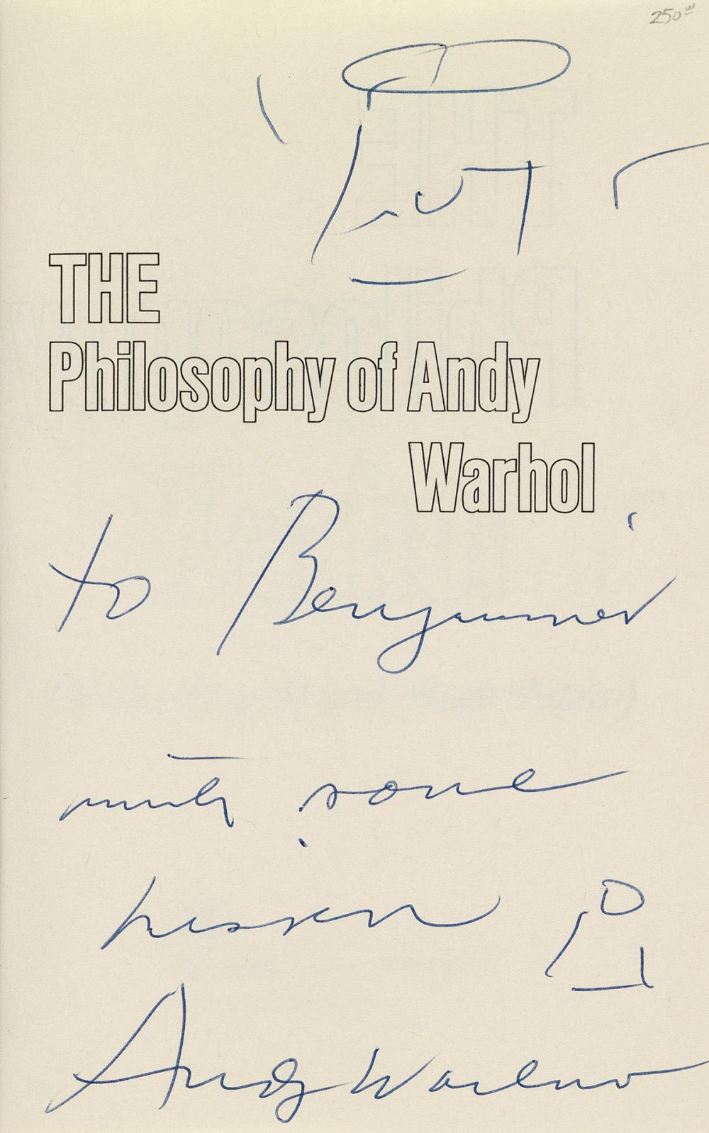 ANDY WARHOL (1928-1987)  The Philosophy of Andy Warhol (From A to B and Back Again).