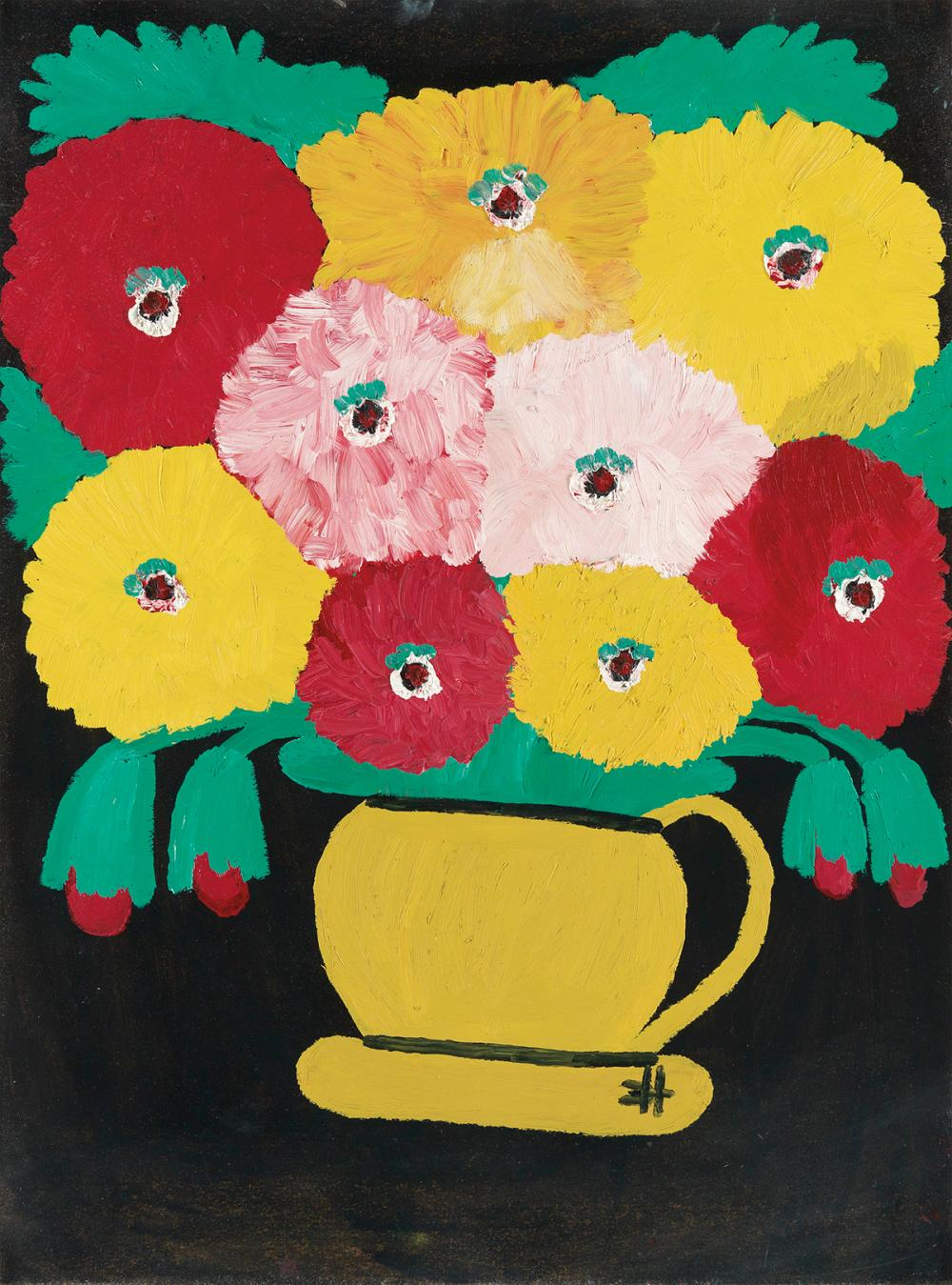 Lot 31 Clementine Hunter 1886 1988 Untitled Zinnias In A Yellow Pitcher