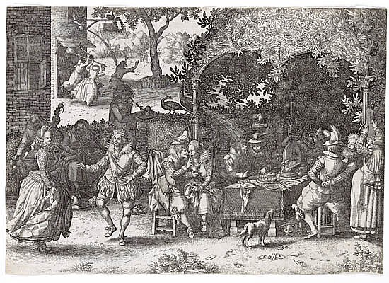 CLAES JANSZ VISSCHER (after Vinckboons) Three engravings from The Story of the Prodigal Son