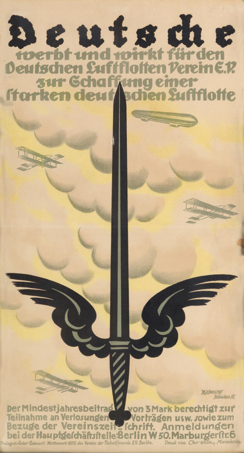 MAX SCHWARZER (1882-1955). DEUTSCHE. 1915. 26x14 inches, 67x36 cm. Chr. Seitz, Mannheim.