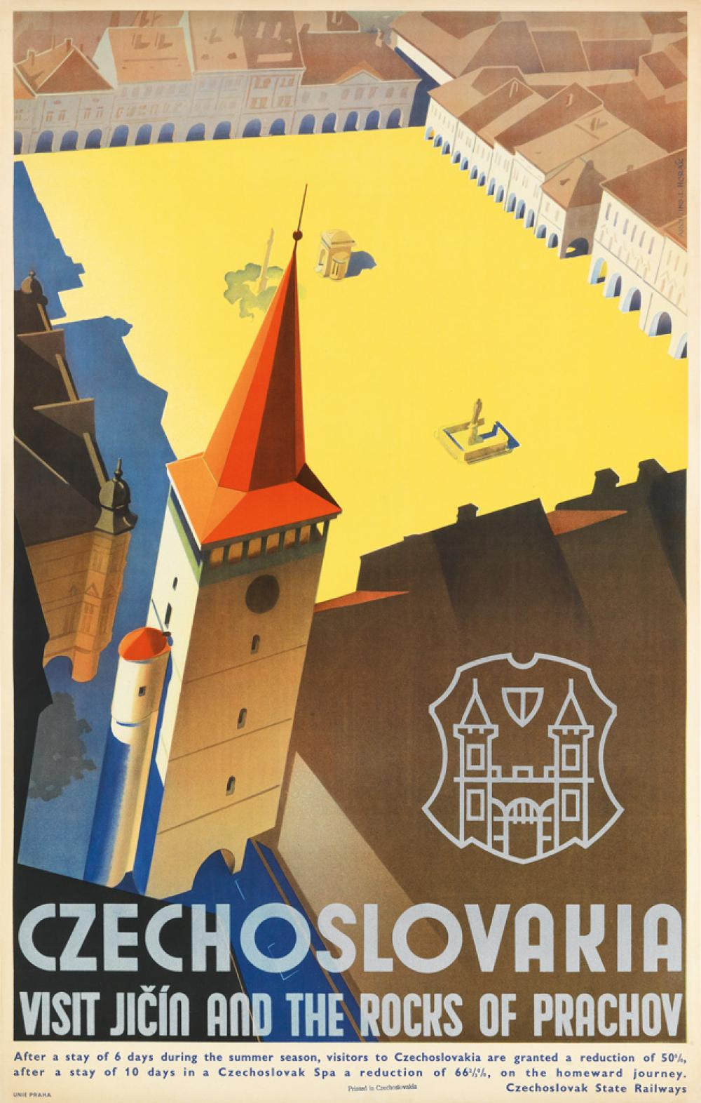 LADISLAV HORAK (1904-?). CZECHOSLOVAKIA / VISIT JICÍN AND THE ROCKS OF PRACHOV. Circa 1930. 39x24 inches, 99x62 cm. Unie, Prague.
