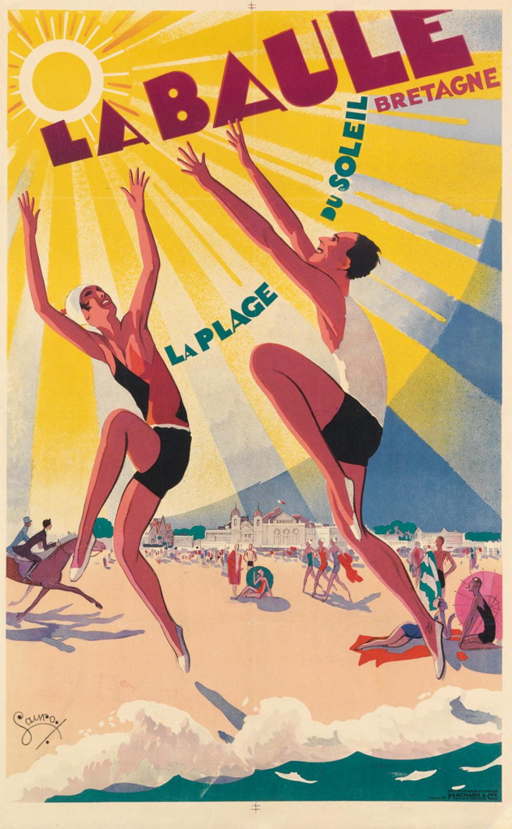 MAURICE LAURO (1878-?). LA BAULE. 1930. 39x24 inches, 100x62 cm. Hachard & Cie., Paris.