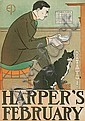 EDWARD PENFIELD (1866-1925). HARPER'S FEBRUARY. 1898. 18x13 inches, 47x.33 cm., Edward Penfield, Click for value