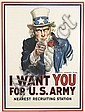 JAMES MONTGOMERY FLAGG (1870-1960). I WANT YOU FOR U.S. ARMY. 1917. 40x30 inches, 103x76 cm. Leslie-Judge Co., New York., James Montgomery Flagg, Click for value