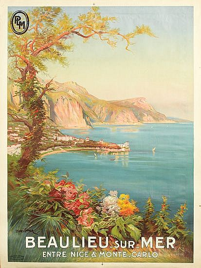 PIERRE COMBA (1859-1934). BEAULIEU SUR MER. Circa 1930. 42x30 inches, 108x78 cm. Cornille & Serre, Paris.