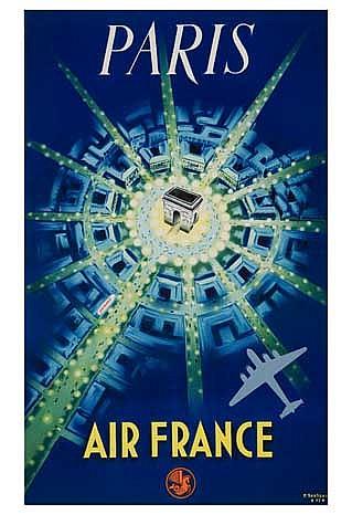 P. BAUDOUIN (1925-?). PARIS / AIR FRANCE. 1947. 39x24 inches, 99x61 cm. La Générale Publicité, Paris.