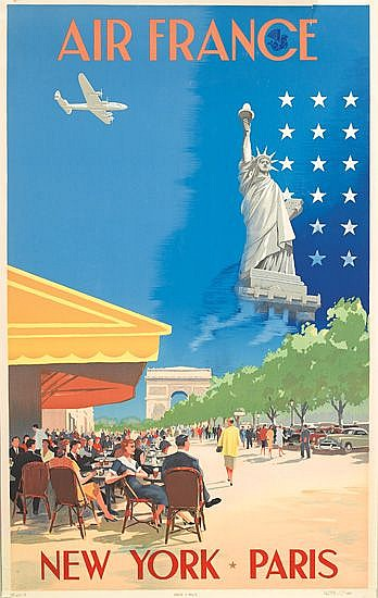 VINCENT GUERRA (DATES UNKNOWN). AIR FRANCE / NEW YORK - PARIS. 1951. 39x24 inches, 99x61 cm.