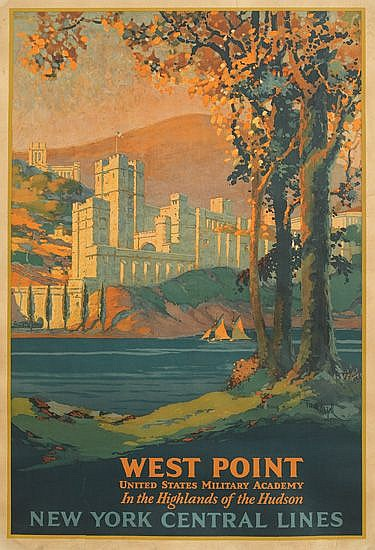 FRANK HAZELL (1883-1957). WEST POINT / NEW YORK CENTRAL LINES. 1927. 40x26 inches, 103x68 cm. Latham Litho Co., Long Island City.
