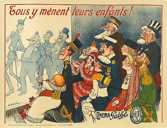 ADRIEN BARRÈRE (1877-1931). TOUS Y MÈNENT LEURS ENFANTS! / CINÉMA PATHÉ. Circa 1909. 46x61 inches, 117x155 cm. Robert & Cie., Paris.
