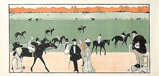 MAURICE BIAIS (1860-1934). [AVANT LA COURSE.] Circa 1897. 22x47 inches, 56x120 cm.