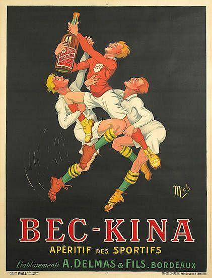 MICH (MICHEL LIEBEAUX, 1881-1923). BEC-KINA. Circa 1920. 62x46 inches, 158x117 cm. Publicité Wall, Paris.