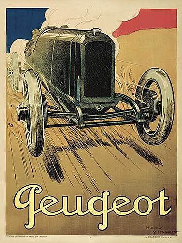 RENÉ VINCENT (1879-1936). PEUGEOT. 1919. 63x47 inches, 160x120 cm. Draeger, Paris.
