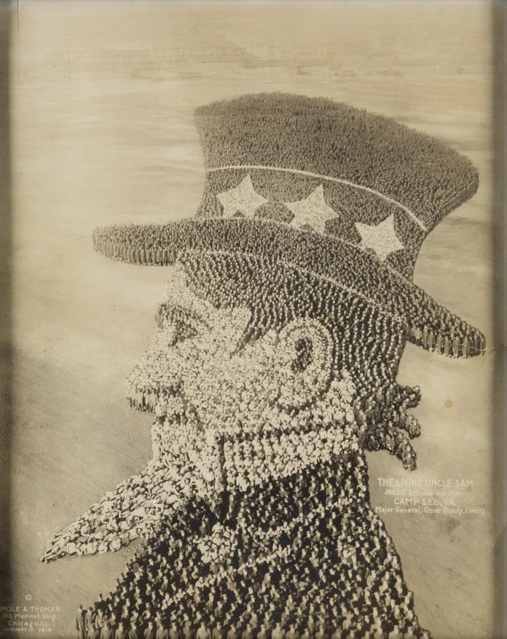 ARTHUR MOLE (1889-1983) & JOHN THOMAS (active 1918-1919) The Living Uncle Sam, 19,000 Officers and Men, Camp Lee, VA, Major General, Om