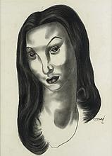 CHARLES WHITE (1918 - 1979) Pensive Lass (Head of a Woman).