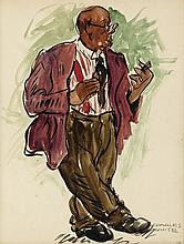 CHARLES WHITE (1918 - 1979) Untitled (Man with Cigar).