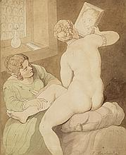 THOMAS ROWLANDSON Nude with a Mirror.