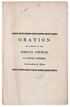 (SLAVERY AND ABOLITION.) SIPKINS, HENRY. An Oration on the Abolition of the Slave Trade: Delivered in the African Church in the City of