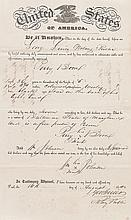 """(SLAVERY AND ABOLITION.) Certificate of Freedom for Perry Boone, """"aged 35 years or thereabout."""""""