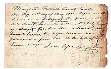 """(SLAVERY AND ABOLITION--MARYLAND.) Manuscript """"pass"""" for Harriet Lawson, a free Negro woman, to visit her husband, Caleb."""