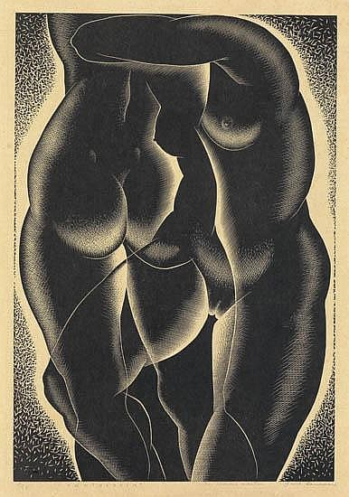 PAUL LANDACRE Counterpoint.  Wood engraving on thin Japan paper, 1939