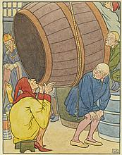 """LEONARD LESLIE BROOKE. """"The man at once sat down in front of the great cask,"""