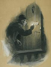 CHARLES EDWARD CHAMBERS. Reading the message on the door with a lighted match.