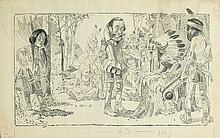 WILL CRAWFORD. John Smith before the Chief of the Powhatans while his daughter Pocahontas leans by a tree.