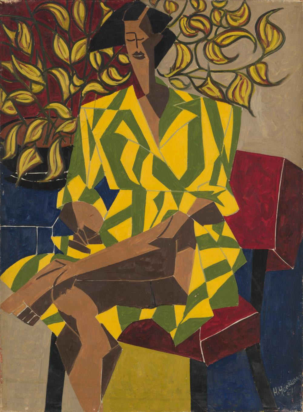 HARTWELL YEARGANS (1915 - 2005) Untitled (Woman with Plant).