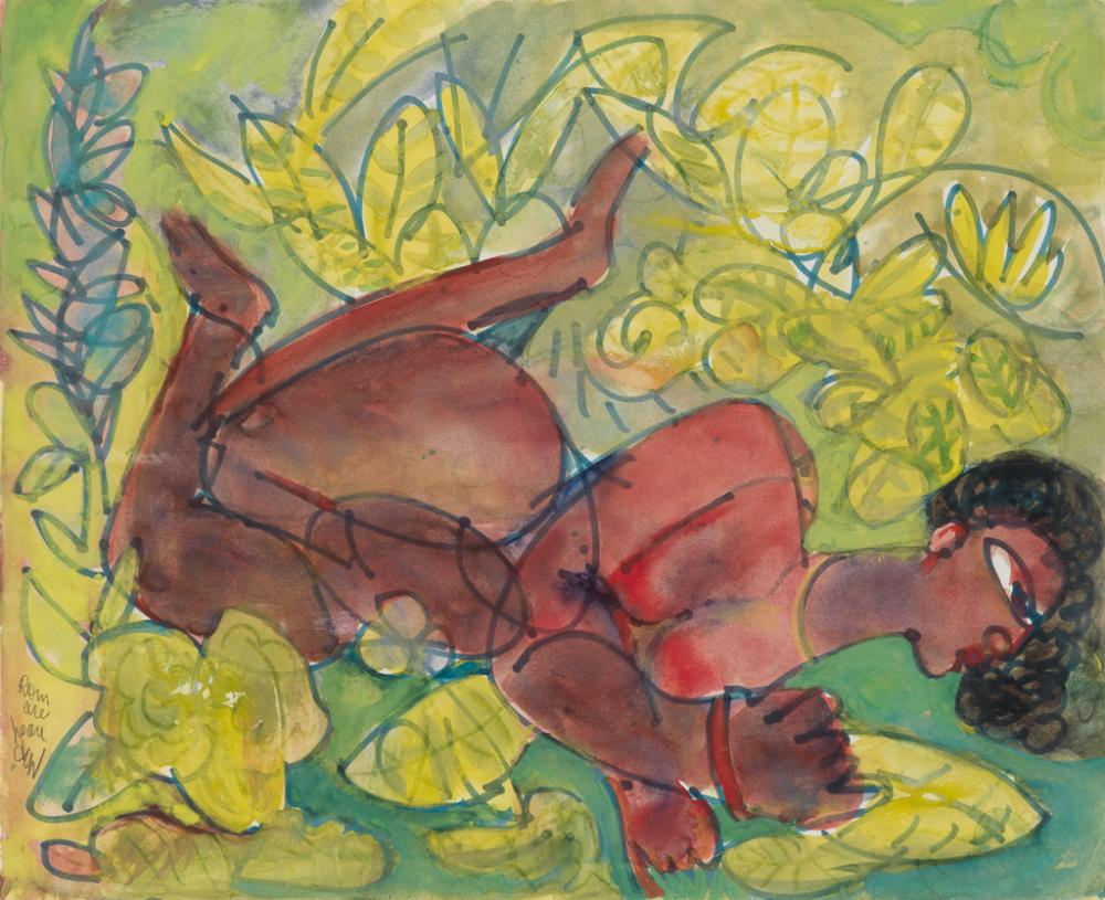 ROMARE BEARDEN (1911 - 1988) Untitled (Nude in Garden).