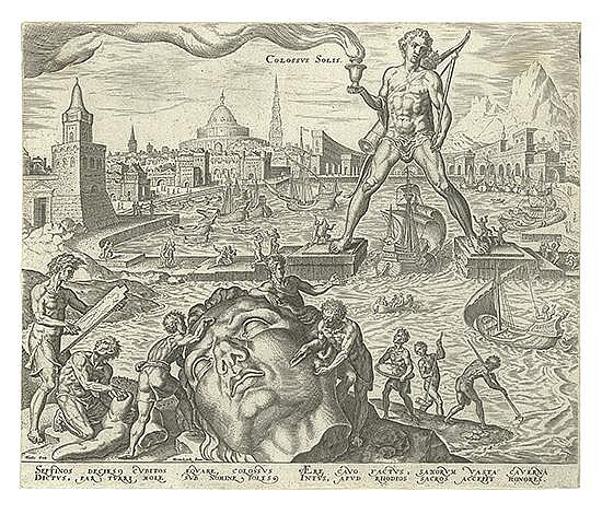 PHILIP GALLE (after Maerten van Heemskerck) The Seven Wonders of the World and the Ruins of the Coliseum