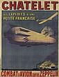 DESIGNER UNKNOWN. CHATELET / COMBAT D'AVION CONTRE ZEPPELIN. 1916. 60x45 inches, 152x115 cm.Publicité Wall, Paris.