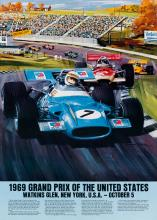 MICHAEL TURNER (1934- ). GRAND PRIX. Group of 9 posters. 1969-1977. Each approximately 28x20 inches, 71x50 cm.