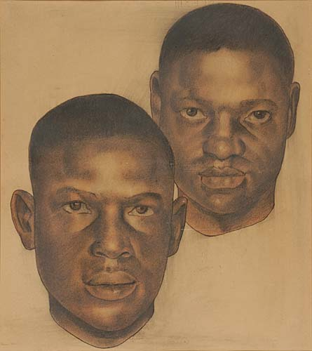 Douglas, Aaron.  Untitled pastel portrait of two of the Scottsboro Boys,