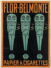 V. HICKS (DATES UNKNOWN). FLOR - BELMONTE / PAPIER A CIGARETTES. 1913. 49x37 inches, 125x95 cm. J.S. Fry & Sons, Bristol.