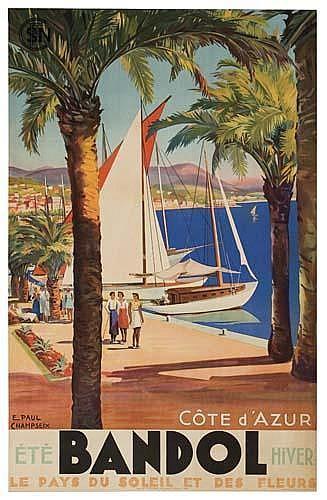 Poster. E. PAUL CHAMPSEIX BRANDOL / CÔTE D'AZUR. 39 x 24inches. (99 x 62 cm.)