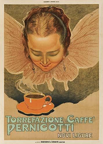 ETTORE MAZZINI TORREFAZIONE CAFFE PERNIGOTTI. 1924. 54 x 38 inches. (137 x 98 cm.) Barobino, E. Rraeve, Genova.