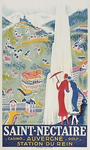Poster. ROGER DE VALERIO SAINT-NECTAIRE. Circa 1930. 38x23 inches. (99 x 58 cm) Devambez, Paris.