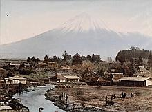 (JAPAN & CHINA) Album with 38 photographs, many hand-colored, including 30 prints depicting the gardens, landscapes, geishas, and trade