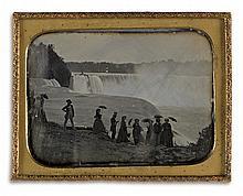BABBITT, PLATT D. (active 1853-1870) Quarter-plate daguerreotype depicting a large group of well-dressed tourists at Niagara Falls.